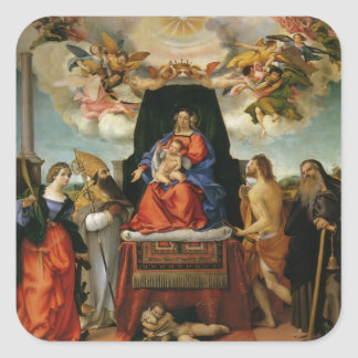 Lorenzo Lotto- Madonna with Angels & Saints Square Sticker