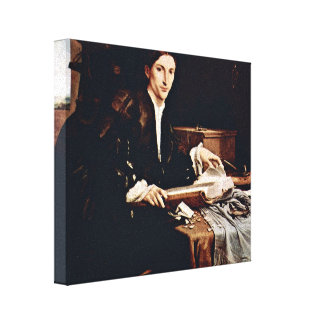 Lorenzo Lotto - Portrait of a young scholar Stretched Canvas Print