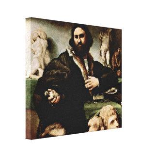 Lorenzo Lotto - Portrait of Andrea Odoni Canvas Print