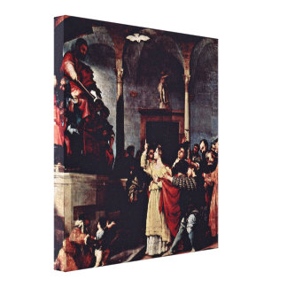 Lorenzo Lotto - St Lucia before the Judge Stretched Canvas Prints
