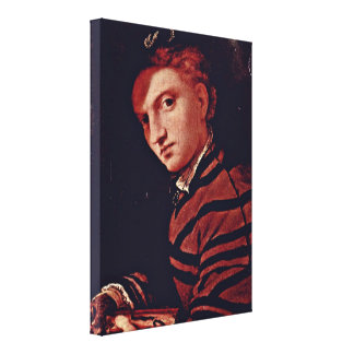 Lorenzo Lotto - Young Man With a Book Portrait Stretched Canvas Print