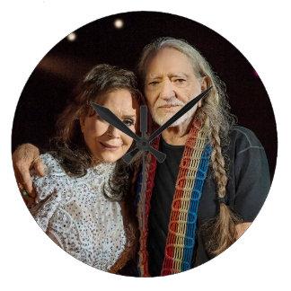 Loretta and Willie Large Clock