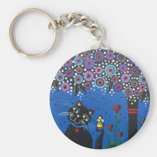 Lori Everett_ Day Of The Dead, Black Cat, Cute Art Basic Round Button Keychain