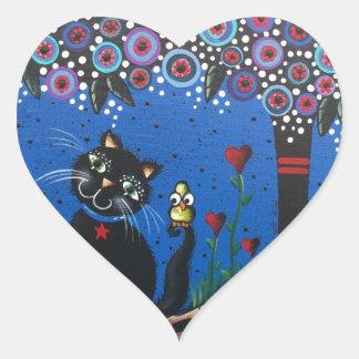 Lori Everett_ Day Of The Dead, Black Cat, Cute Art Heart Sticker