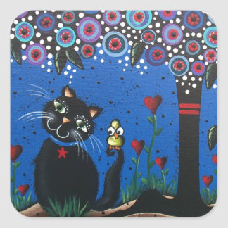 Lori Everett_ Day Of The Dead, Black Cat, Cute Art Square Sticker