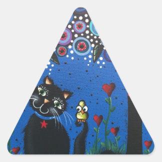 Lori Everett_ Day Of The Dead, Black Cat, Cute Art Triangle Sticker