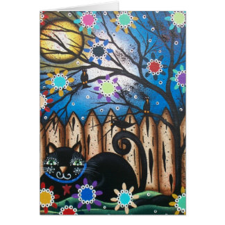 Lori Everett_ Day Of The Dead,Black Cat,Mexican Greeting Card