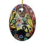 Lori Everett_ Day Of The Dead,Cat,Skull,Ornament
