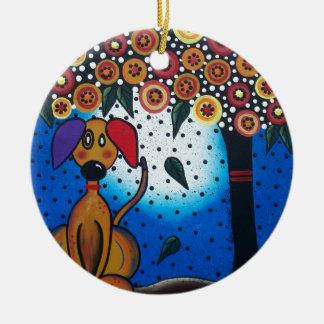 Lori Everett_ Day Of The Dead_Dog, Doggie Art Ceramic Ornament