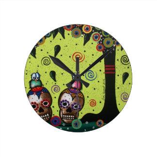 Lori Everett_ Day Of The Dead,Mexican,Skulls,birds Round Wallclock