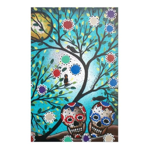 Lori Everett_ Day Of The Dead_Mexican_Skulls_DOD Stationery Paper