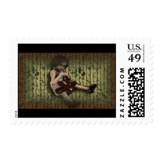 Lorie Green and Yellow Background Postage Stamps