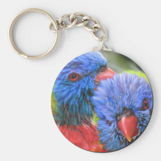 Lorikeets bubble with shadow keychain
