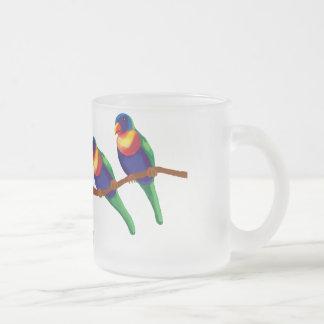 Lorikeets del arco iris taza de cristal