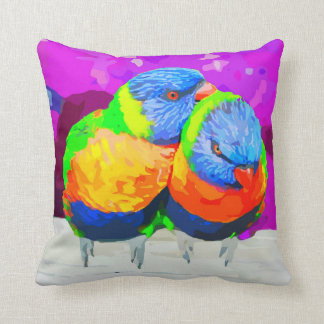 Lorikeets Love Birds Couple Throw Pillow