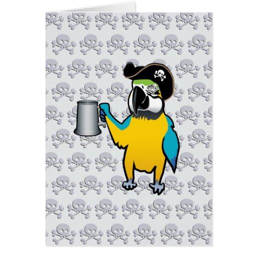Loro amarillo del pirata del Macaw con una jarra d Tarjetón
