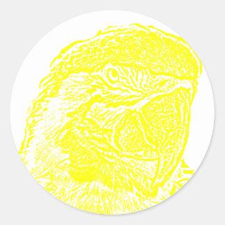 loro amarillo gráfico del esquema de la opinión pegatina redonda