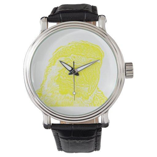 loro amarillo gráfico del esquema de la opinión reloj de mano