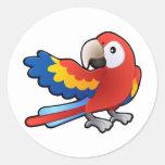 loro amistoso lindo del Macaw Etiqueta