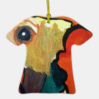 Loro anaranjado adorno de cerámica en forma de camiseta