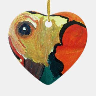 Loro anaranjado adorno de cerámica en forma de corazón