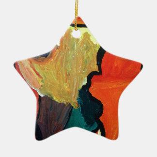 Loro anaranjado adorno de cerámica en forma de estrella