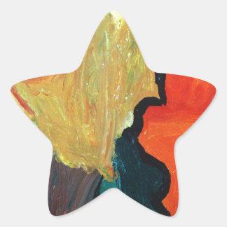 Loro anaranjado pegatina forma de estrella personalizada