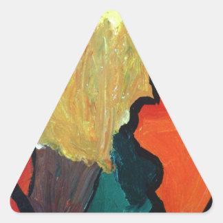Loro anaranjado pegatina triangular