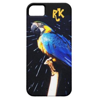 Loro azul con el caso del iPhone 5 del monograma 2 iPhone 5 Cobertura