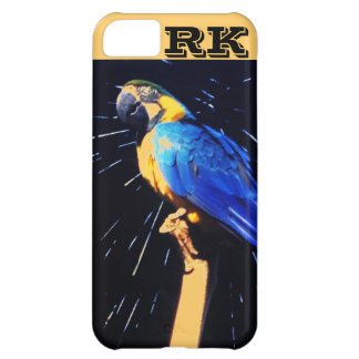 Loro azul con el caso del iPhone 5 del monograma