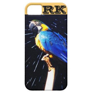 Loro azul con el caso del iPhone 5 del monograma iPhone 5 Funda