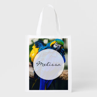 Loro azul del Macaw, pájaro tropical exótico Bolsa Reutilizable