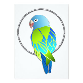 Loro azul y verde tropical en el anillo de plata invitación 12,7 x 17,8 cm