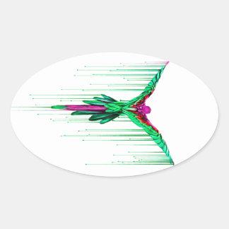 Loro de fusión que vuela pegatina ovalada