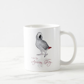 Loro del gris africano taza de café