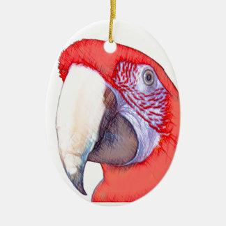 Loro del Macaw de Greenwing Adorno Ovalado De Cerámica