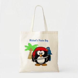 Loro del pingüino del pirata y playa conocida bolsa tela barata