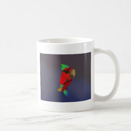 Loro del pirata tazas de café