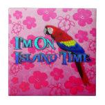 Loro del tiempo de la isla azulejo cuadrado pequeño