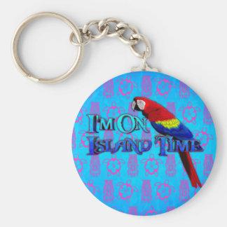 Loro del tiempo de la isla llavero redondo tipo pin