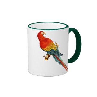 Loro Desing de Macaw del Scarlet del vintage Taza