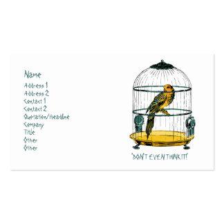Loro en una jaula dorada tarjetas de visita