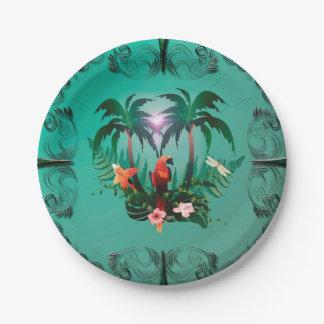 Loro lindo con las flores y la palma platos de papel