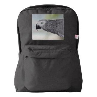 Loro magnífico del gris africano mochila
