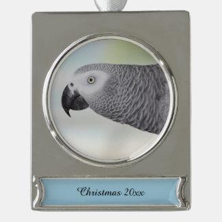 Loro magnífico del gris africano adornos navideños plateados
