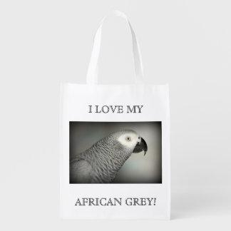 Loro majestuoso del gris africano bolsa de la compra