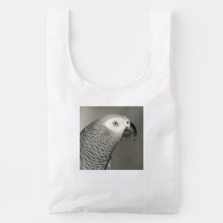 Loro majestuoso del gris africano bolsa reutilizable