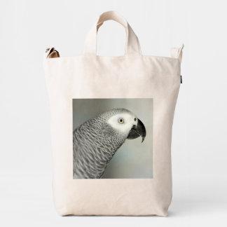 Loro majestuoso del gris africano bolsa de lona duck