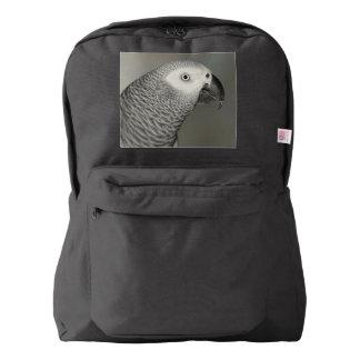 Loro majestuoso del gris africano mochila