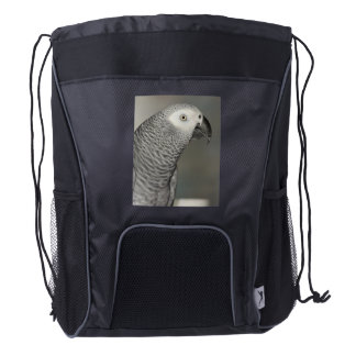 Loro majestuoso del gris africano mochila de cordón